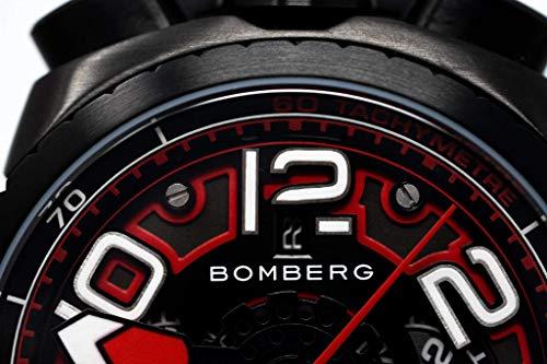 Bomberg BOLT-68 Automatisk kronograf herrklocka svart PVD läderrem BS47CHAPBA.041-1.3