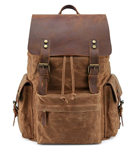 Leather Really Bag (Kattee Large Leather Canvas Backpack School Bag Outdoor Travel Rucksack (Khaki))