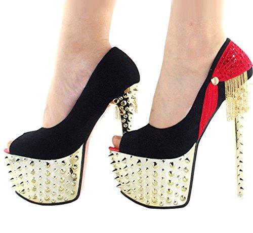 Getmorebeauty Women's Red Glitter Platform Rivet Stud Tassel High Heels 9 B(M) US