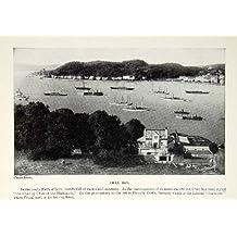 1924 Print Oban Bay Scotland UK Firth Lorn Yachts Steamships Harbor Gaelic Town - Original Halftone Print