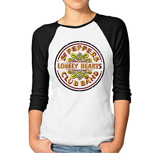 Printed Women's The Beatles Lonely Hearts Seal Hey Jude Top 3/4 Sleeve Raglan Tee Shirts