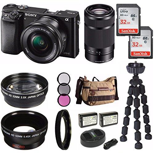 rorless Digital Camera 2 Lens Kit (SELP1650 + SEL55210B) & Havan Camera Case 64GB Kit ()