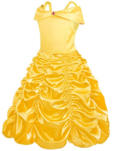 AmzBarley Girls Belle Costumes Christmas Deluxe Fancy Party Cosplay Role Play Prom Dress Up Clothes Yellow Age 9-10 Years Size 12 ()