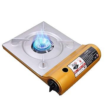 Estufa de gas que acampa portátil, estufa compacta del hierro durable de la hornilla de la estufa del butano del gas que acampa ultra fino que acampa: ...