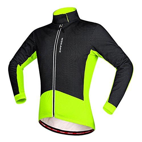 Gwell Homme Veste de Cyclisme Polaire Manches Longues Hiver Vert Base et Bas des Manches