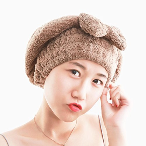 (LtrottedJ Microfiber Hair Turban Quickly Dry Hair Hat Wrapped Towel Bathing Cap (coffee))