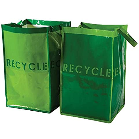 G.U.S. Recycle Bins for Home and Office - Set of 2. Waterproof Bags with Sturdy Handles - Paper Recycling Bin