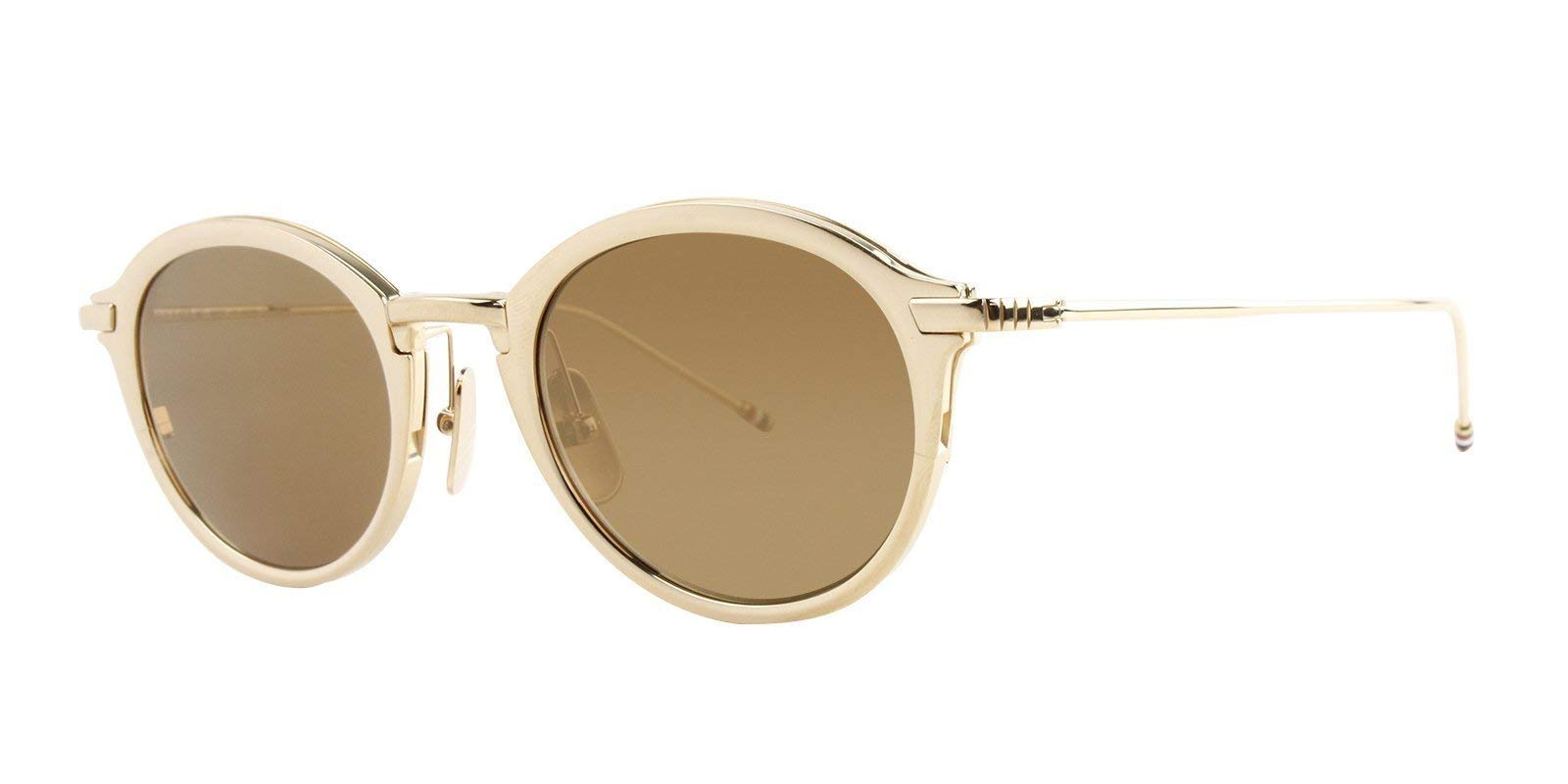 Sunglasses THOM BROWNE TB 110 C-T-GLD White Gold w/ Dark Brown-Gold Mirror-AR by Thom Browne