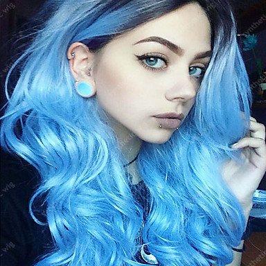 MZP Mujer Pelucas sintéticas Sin Tapa Ondulado Azul Pelo Ombre Peluca natural Peluca de Halloween Peluca