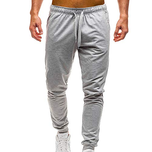 WOCACHI Mens Jogger Pants Sports Casual Sweatpants Solid Track Elastic Trousers Winter Big Drawstring Distressed Drop Autumn Harem Jeans (Gray, Large)