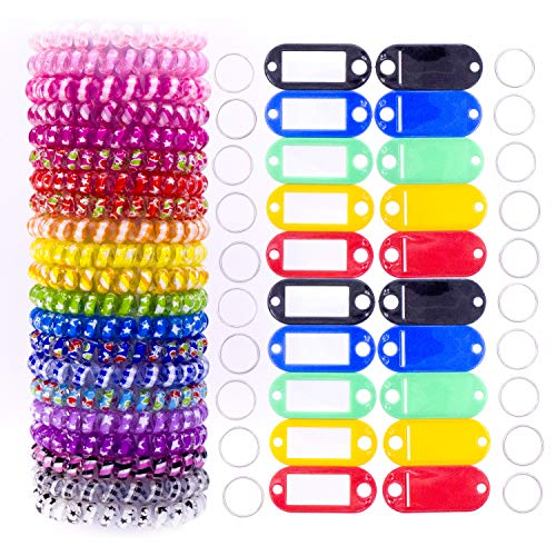 20Pack Plastic Coil Stretch Elastic Spring Spiral Bracelet Key Ring for Gym Pool ID Badge, Plastic ID Tags with Label Window for Keychain Pet Luggage Bag.(Multi-Colors)