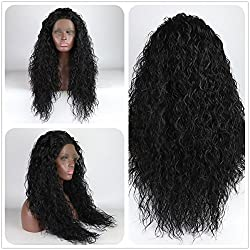 Loose Curly Lace Front Wig Black Hair Heat Resistant Fibers Synthetic Lace Front Wig Glueless Half Hand Tied For All Women 24inch (Black)