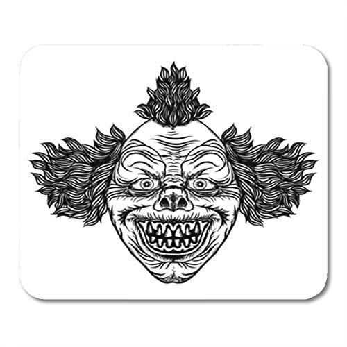Semtomn Gaming Mouse Pad Creepy Scary Cartoon Clown Horror Movie Zombie Face Character 9.5