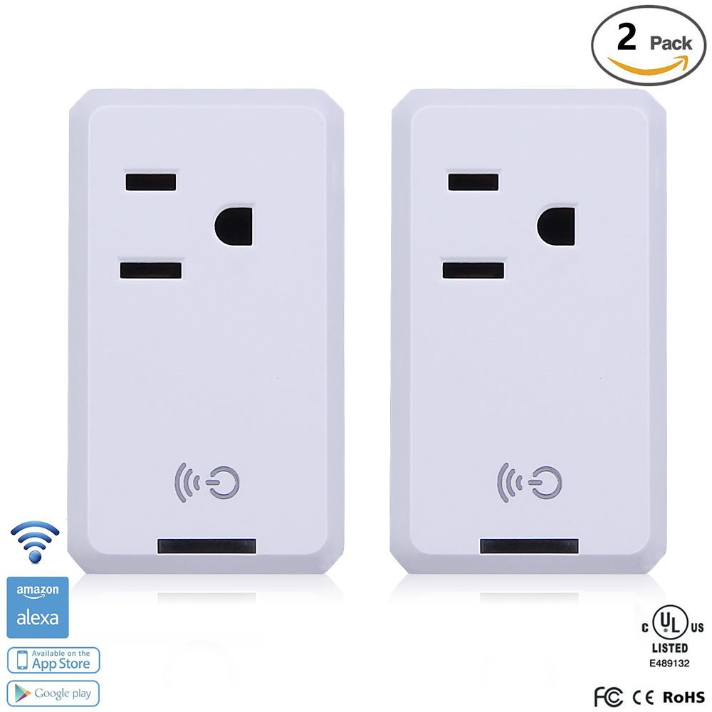 Smart WiFi Outlet Socket, BOSCHENG Wireless Outlet Switches Remote Control WiFi Timing Socket for Household Appliances, Works with Amazon Echo Alexa & Google Assistant (2 PCS)