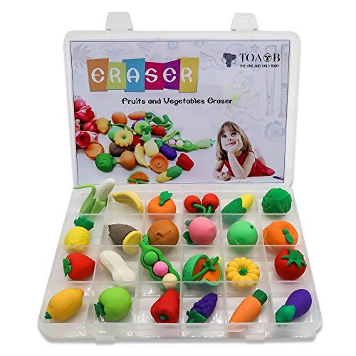 TOAOB 24 Novelty Fruits and Vegetables Erasers Puzzle Toys With Plastic Compartment Storage Box