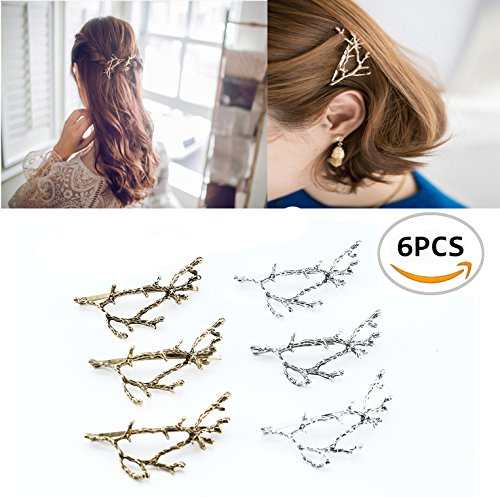 Oopsu 6pcs Minimalist Dainty Gold Silver Metal Hairpin Hair Clip Clamps,Metal Branches Hairpin Hair Accessories