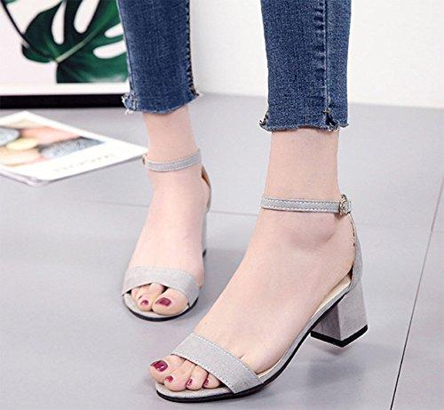 con aperta 2 con KUKI Fibbia da donna punta moda sandali spessa alla AYqH60xSw
