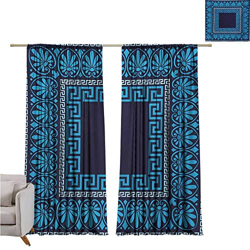 DESPKON-HOME Curtain Extra Long,Greek Key Grecian Meandros Pattern with Intricate Lines Floral Figures in Blue Shades Sliding Darkening Curtains (55W x 63L inch,Blue Dark Blue) ()