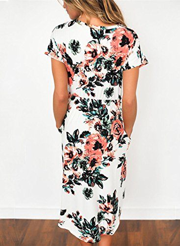 Azbro Mujer Midi Vestido Casual Mangas Cortas Estampado Floral Blanco