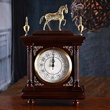 WXIN Relojes Y Relojes Reloj Mesa Mesa De Salón Dormitorio Estudio De Escritorio Reloj Reloj De Metal De 12 Pulgadas Nogal Negro: Amazon.es: Hogar
