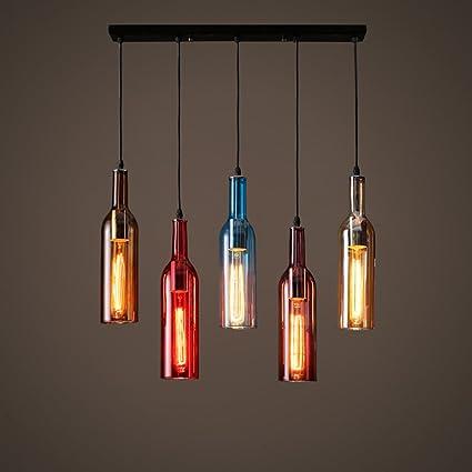 Lampadari Fatti Con Bottiglie Di Vetro.Zwd Lampadario In Vetro Colorato Vino Bottiglia Loft Bar