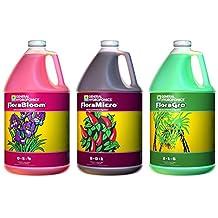 General Hydroponics Floragro, Florabloom & Floramicro Fertilizer, 1 gallon
