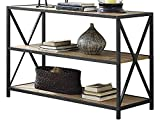 WE Furniture 40'' x-Frame Metal & Wood Media Bookshelf - Barnwood, 40'',