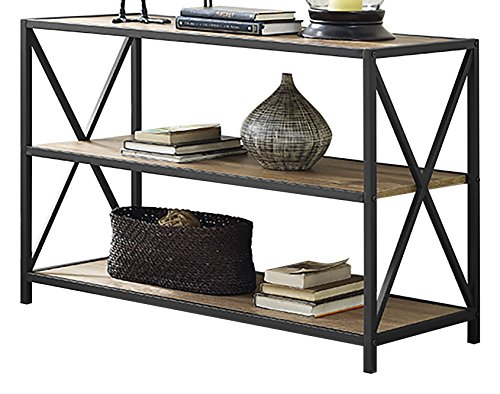 WE Furniture 40'' x-Frame Metal & Wood Media Bookshelf - Barnwood, 40'', by WE Furniture