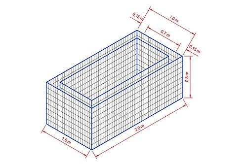 Gabionen Hochbeet MW 50/100 mm L 200 x T 100 x H 80 cm