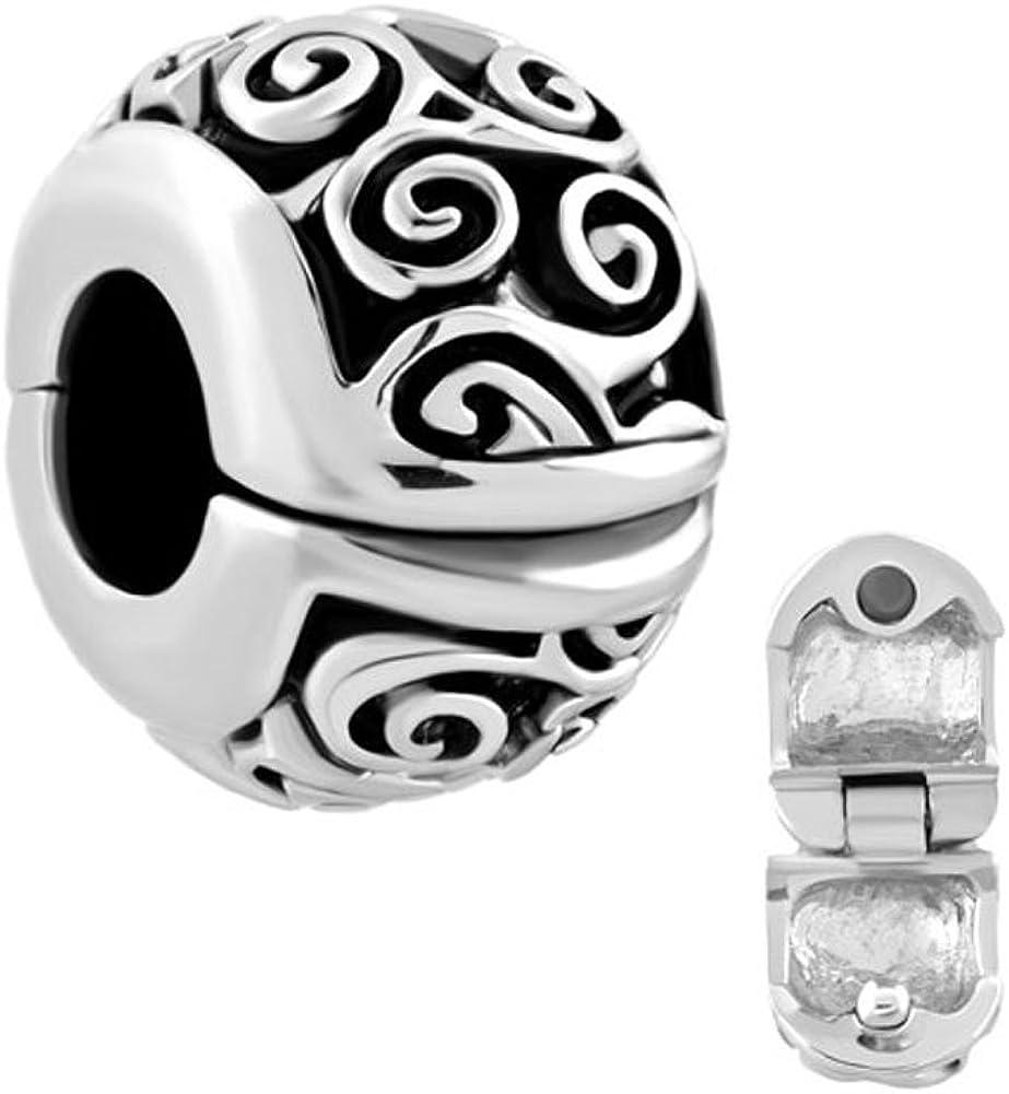 LovelyJewelry Irish Celtic Swirl Flower Clip Lock Stopper Spacers Charms Beads Fit Charms Bracelet