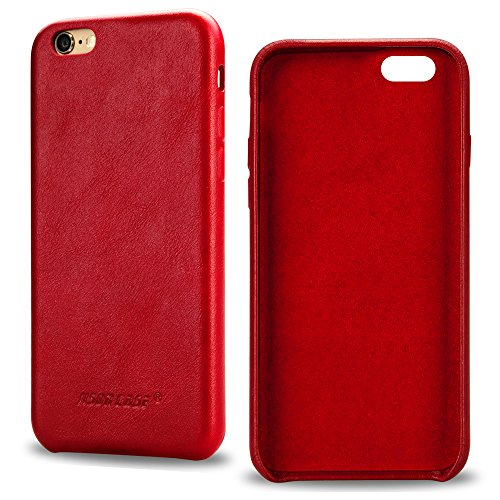 Jisoncase iPhone 6s Case Genuine Leather Hard Back Case Slim Fit Protective Cover Snap on Case for iPhone 6/6s [Red]-JS-I6S-02A30