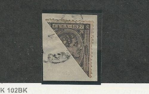 Spanish Caribbean, Postage Stamp, 74b Used Bisect on Piece, 1877