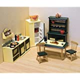 Classic Wooden Dollhouse Kitchen Furniture, 7pc, Buttery Yellow/Deep Green