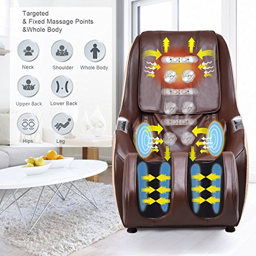 Giantex Massage Chair Recliner Full Body Portable, Zero Gravity 3D Deep Back Hip Shiatsu Kneading Massaging Rollers L Track Muscle Fatigue Relax Salon Spa, Massage Chairs w/Wheels (Brown)