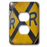 3dRose Danita Delimont - Signs - USA, Arizona, Sedona. Old yellow railroad crossing sign - Light Switch Covers - 2 plug outlet cover (lsp_278462_6)
