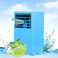 LUCKSTAR Desktop Air Conditioning Fan - Quiet Personal Mini Fan Air Cooler for Refrigeration & Humidification & Fresh Air (Blue)