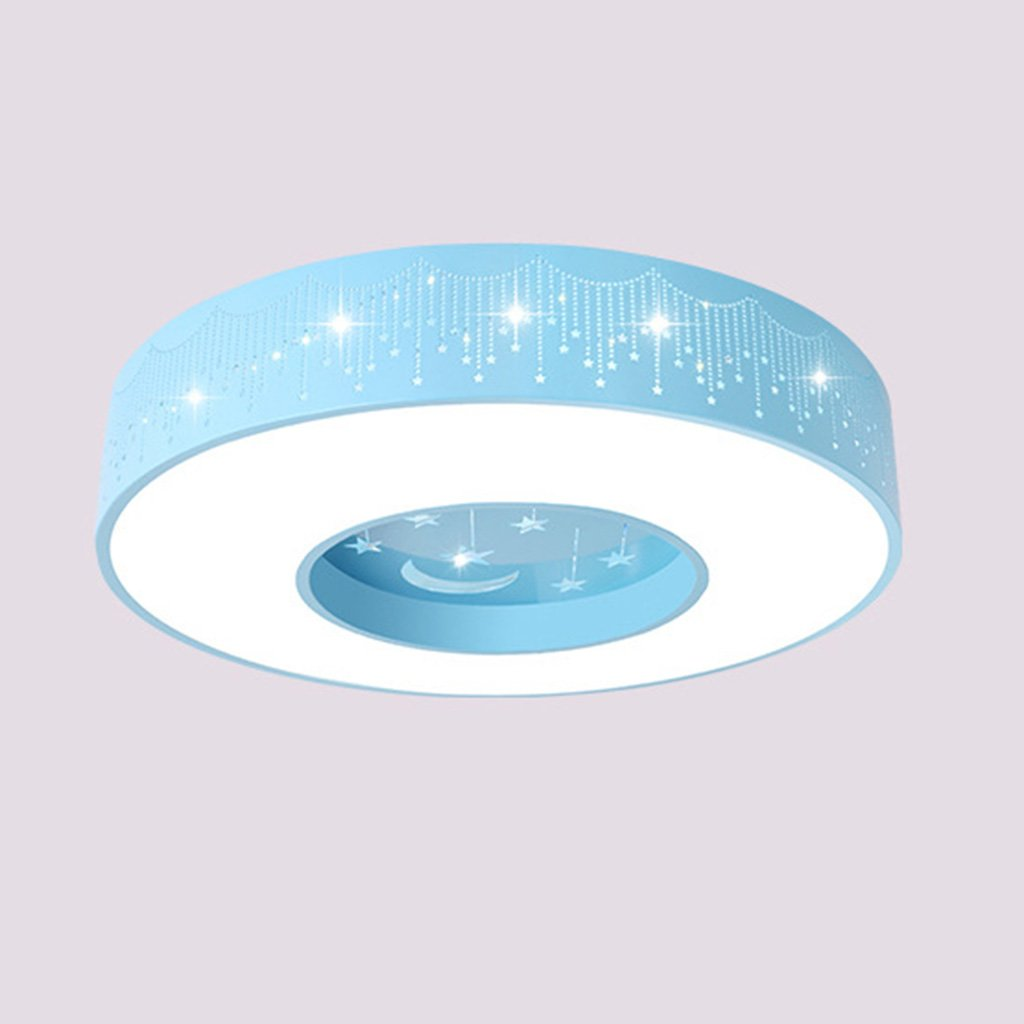 LU- Ceiling Light LED Bedroom Kids Room Star Warm Circle Star Moon Lamp ( Color : Blue , Size : 40cm )