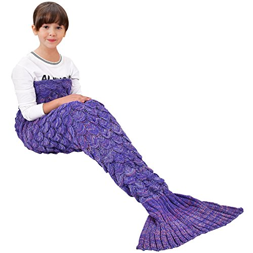 Best Friend Costumes Men (Handmade Mermaid Tail Blanket Crochet , Ibaby888 All Seasons Warm Knitted Bed Blanket Sofa Quilt Living Room Sleeping Bag for Kids and Adults(Kids / 55.1