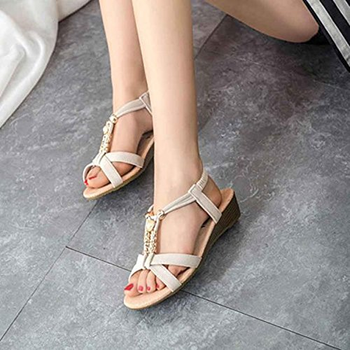 Summer SandalsElaco Women's Casual Peep-toe Flat Outdoor Beach Shoes