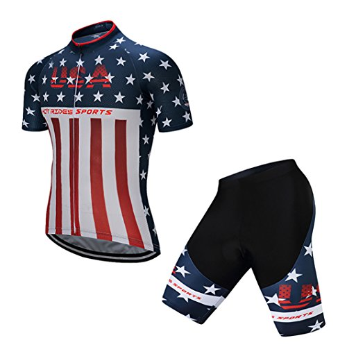 Hot Rides Men's Quick Dry Cycling Jersey And 3D Gel Padded Shorts Set USA Flag Printed (Medium)