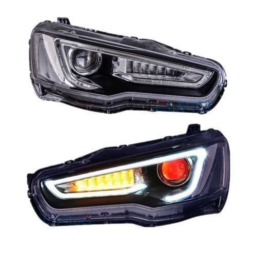 MOSTPLUS DRL Devil Eyes Halo Projectors Headlights for 2008-2017 Mitsubishi Lancer Set (Left & (Mitsubishi Lancer Halo Projector Headlights)
