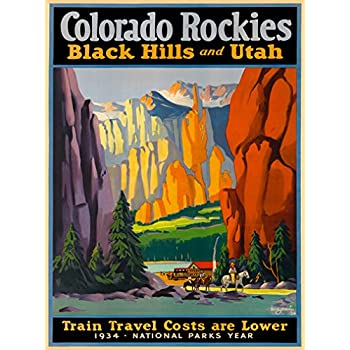 Colorado Rockies Black Hills Utah Vintage Train United States Travel Art Poster