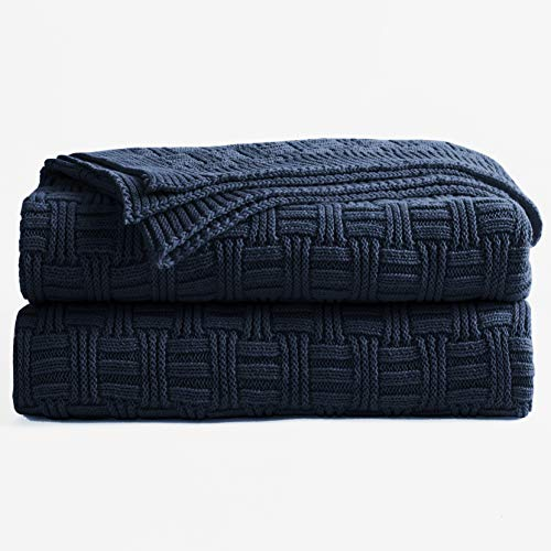 - Longhui bedding Cotton Navy Cable Knit Throw Blanket for Couch Chairs Bed Beach, Home Decorative Grey Knitted Blanket, 50 x 60 Inch with a Washing Bag,Silk Bow Tie Package
