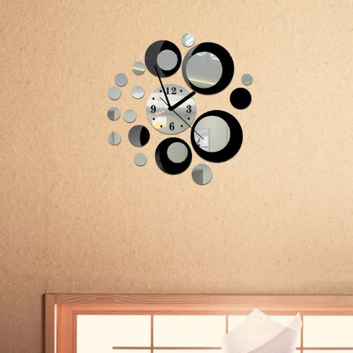 NYKKOLA Removable Diy Acrylic 3D Mirror Wall Sticker Decorative Clock,  Black And Silver Part 85