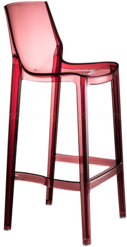 ASHX Transparent Bar Stools High Stools Acrylic Cafe High Bar Stool Living Room Home Bar Chair Furniture,Brown-H75cm Transparent-h65cm