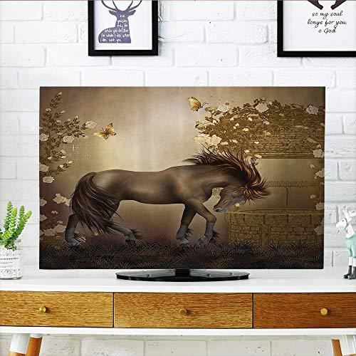 L-QN Front Flip Top Horse in Roses Garden Butterflies ntasy Molight Romantic Artistic Front Flip Top W32 x H51 INCH/TV 55