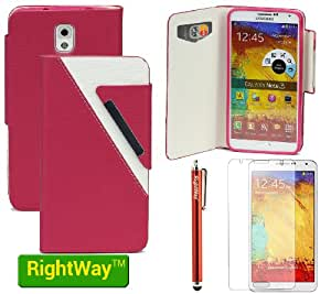 Rightway Color Blocking Flip Small Grid Magnetic leather Protector Case with credit card holder For Samsung Galaxy Note 3 With one Screen Protector And one Stylus Red