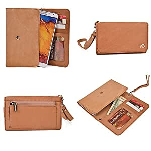 Prestigio MultiPhone 5500 Duo, 5501 Duo Wallet Wristlet Clutch With Hand Strap and Credit Card Slots| Genuine Leather: Venetian Gold