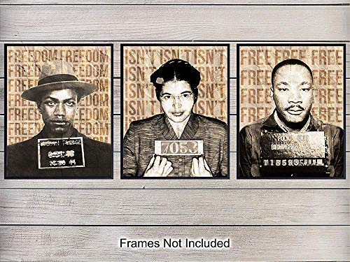 (Black Leaders Wall Art Print - Perfect Gift for Teachers and African Americans - Proud Home Decor for Black History Month, Classroom - 8x10 Unframed Photo - Martin Luther King, Rosa Parks, Malcolm X )