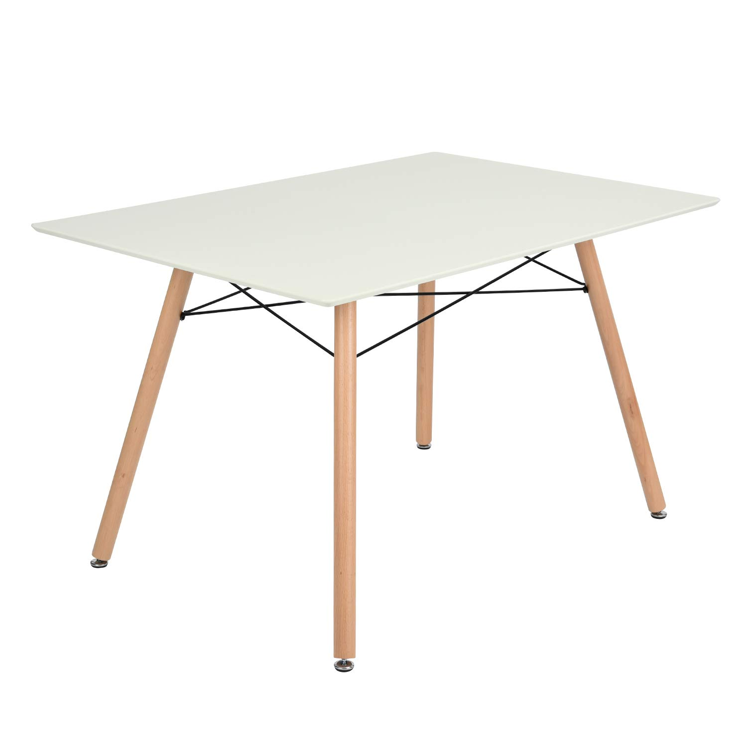 GOLDFAN Glass Dining Table Eiffel Modern Wood Style for Kitchen Table Rectangle Dining Room Table 120 x 70 x 7 5 cm Table Only